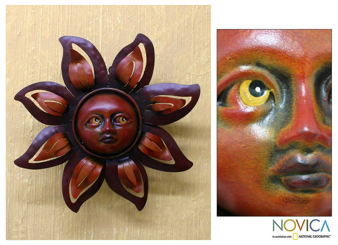 Iron 'Floral Sun' Wall Sculpture (Mexico)