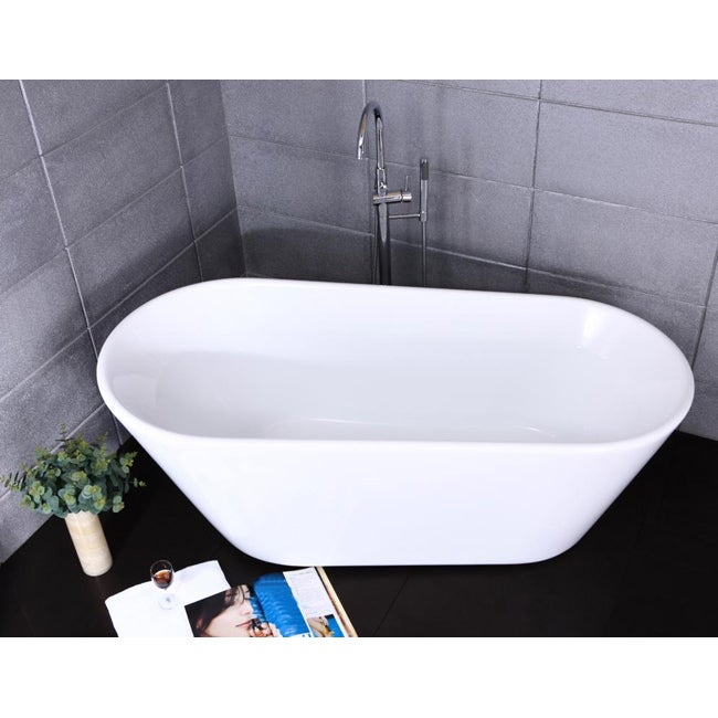 Shop Free-standing Deep Soak Bath Tub and Faucet - Free Shipping ...