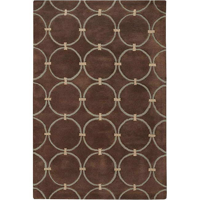 Hand-Tufted 'Mandara' Geometric Brown Wool Rug (9' x 13')