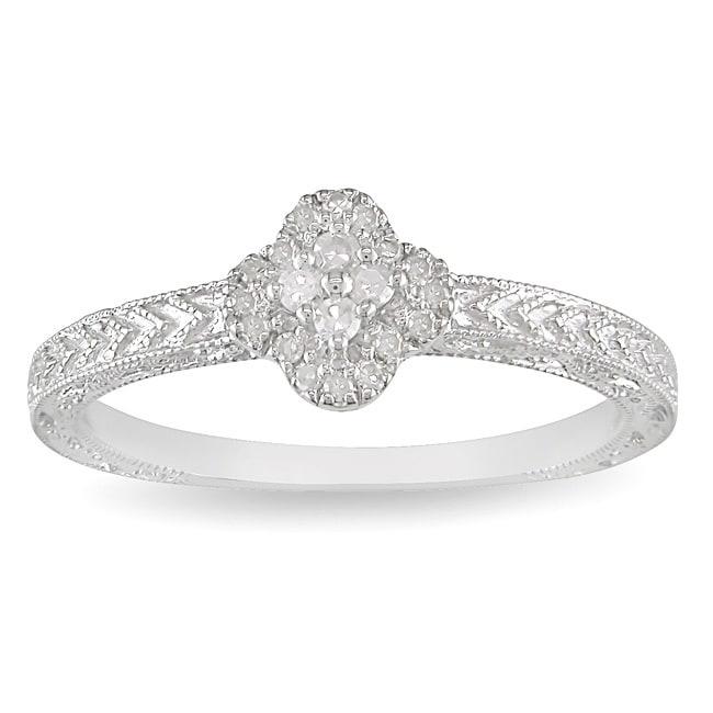 Miadora Sterling Silver 1/8ct TDW Diamond Fashion Ring