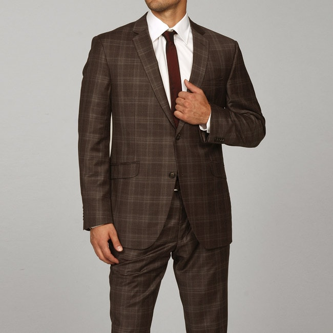 Ben Sherman Men's Slim Fit Brown Plaid Wool Suit - Free Shipping