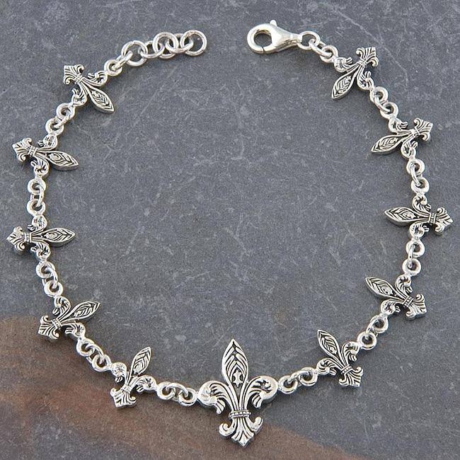 Adjule Sterling Silver Fleur De Lis Bracelet Thailand