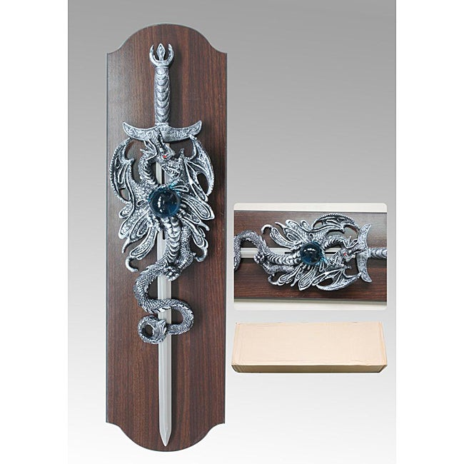 25-inch Sword with 27-inch Dragon Hanging Plaque - Thumbnail 0