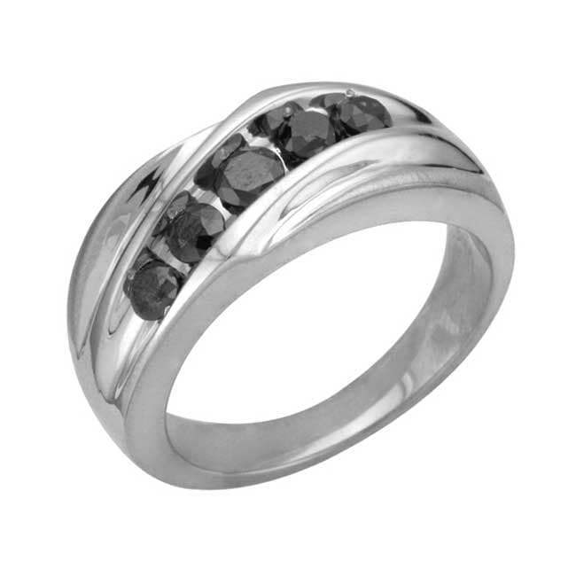 Unending Love Sterling Silver Men's 1ct TDW Black Diamond Ring