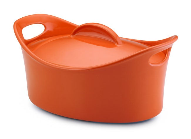 Rachael Ray Orange Stoneware Casseroval - Thumbnail 0