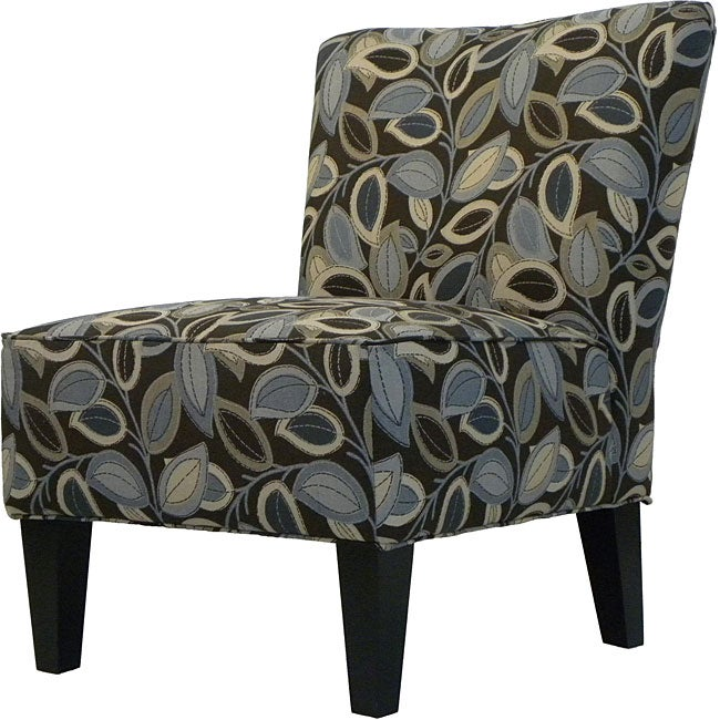 Hali Armless Designer Accent Chair Brown Modern Leaf