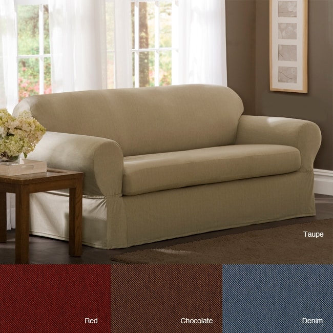 Shop Stretch Twill Sofa Slipcover Free Shipping Today