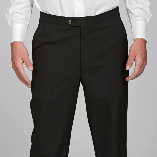 Sansabelt Men's 4 Seasons Black Flat-front Dress Pants