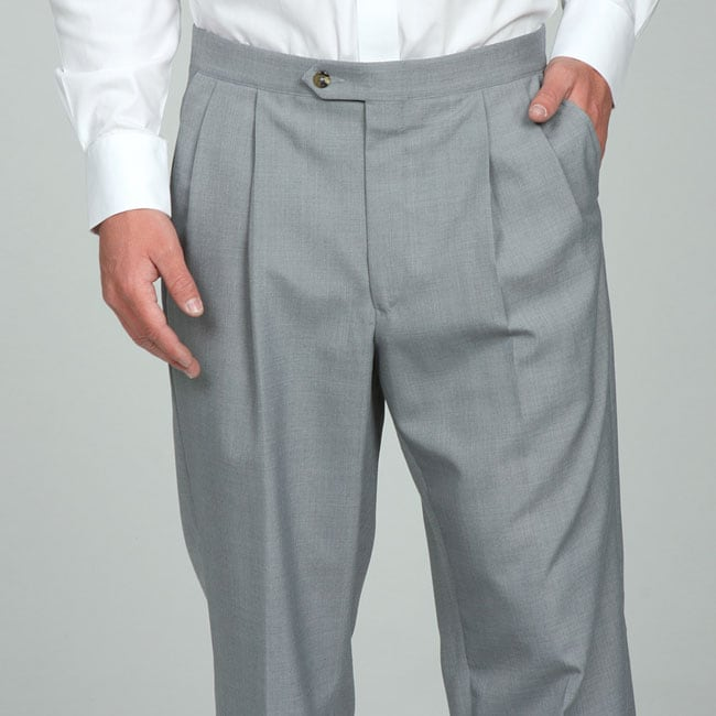 Sansabelt Men's 4 Seasons Light Grey Pleated Dress Pants - Free ...