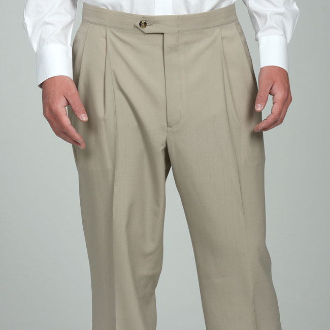 Sansabelt Men's Natural Pleated Wool Trousers