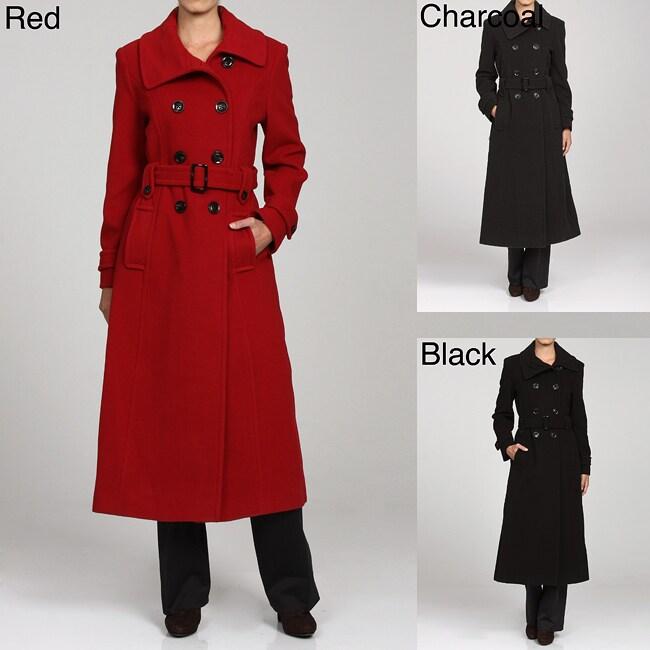 Anne Klein Women S Belted Double Breasted Long Wool Coat