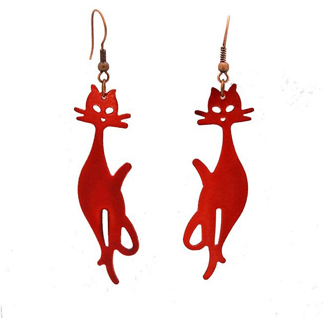 Tin Red Cat Club Earrings (Chile)