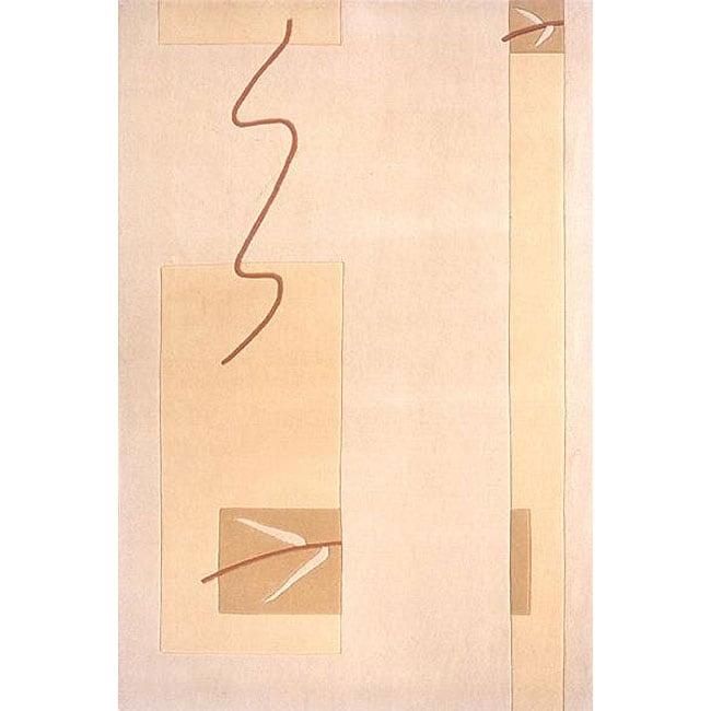 Hand-loomed Beige Blocks Rug (8' x 10')