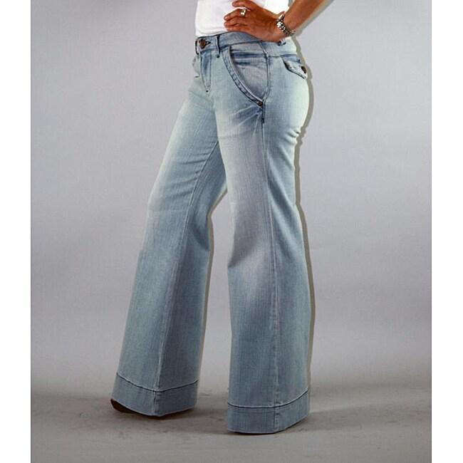 Institute Liberal Women's High Waist Light Wash Wide-leg Trousers