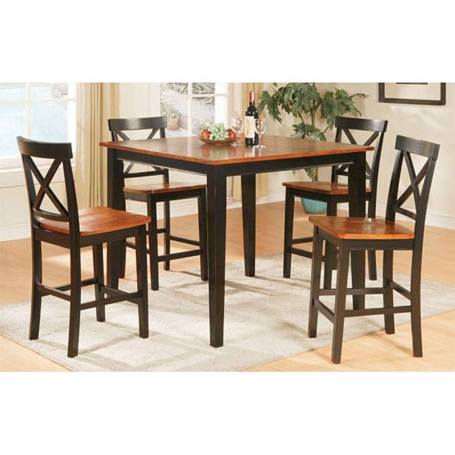 tony solid wood brown two tone 5 piece dining room set free shipping today. Black Bedroom Furniture Sets. Home Design Ideas
