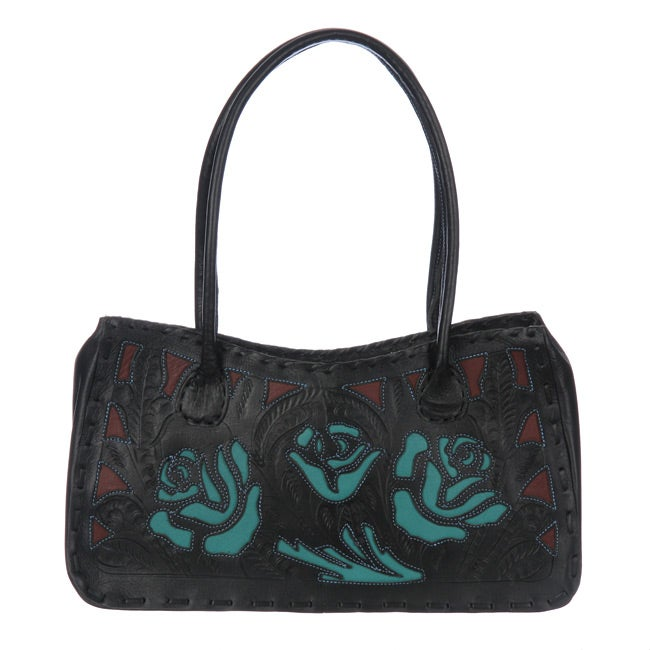 Hand-tooled Black and Turquoise Leather Tote Handbag (Paraguay)