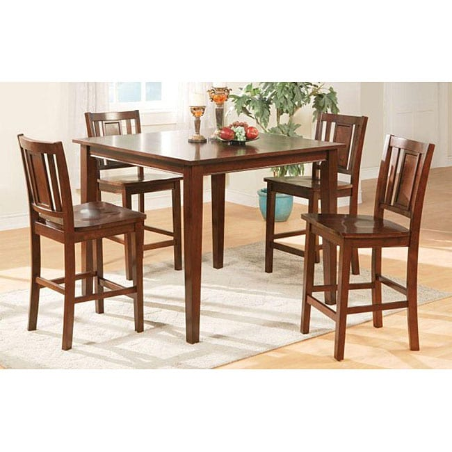 Oaky Solid Wood Brown Two-tone 5-piece Dining Room Set
