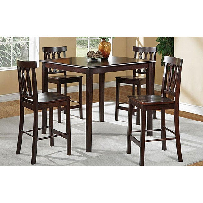 Lenny solid wood brown two tone 5 piece dining room set for 2 tone dining room sets
