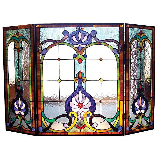 Victorian Stained Glass Fireplace Screen Free Shipping Today 12954298