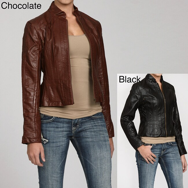 Solitaire Women's Seamed Faux Leather Jacket