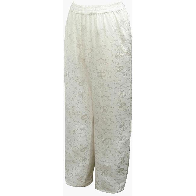 Women's White Silk Pull-on Pants (Nepal)
