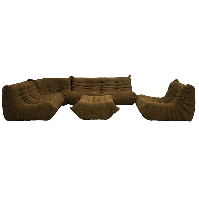 Microfiber Brown 5-piece Living Room Set - Thumbnail 0