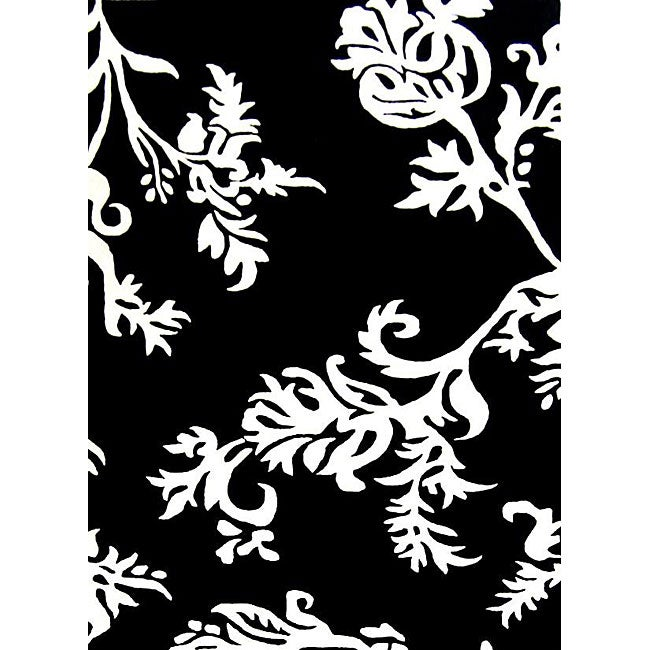 Alliyah Handmade Quill Feather Black/White New Zealand Blend Wool Rug (4' x 6')