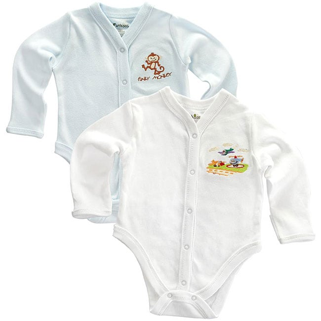 Funkoos Organic Boys Long Sleeve Bodysuits (Pack of 2)