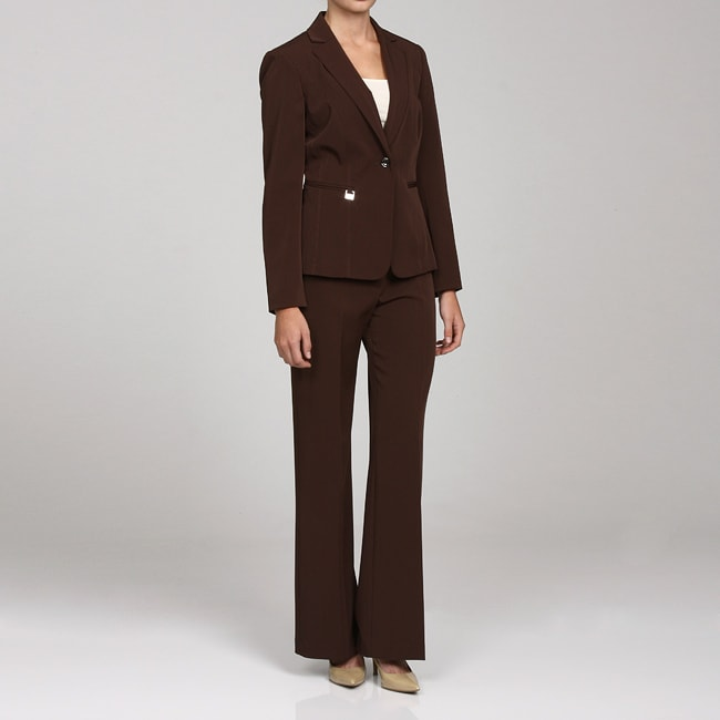 John Meyer Women's Brown 2-piece Pant Suit - Free Shipping On ...