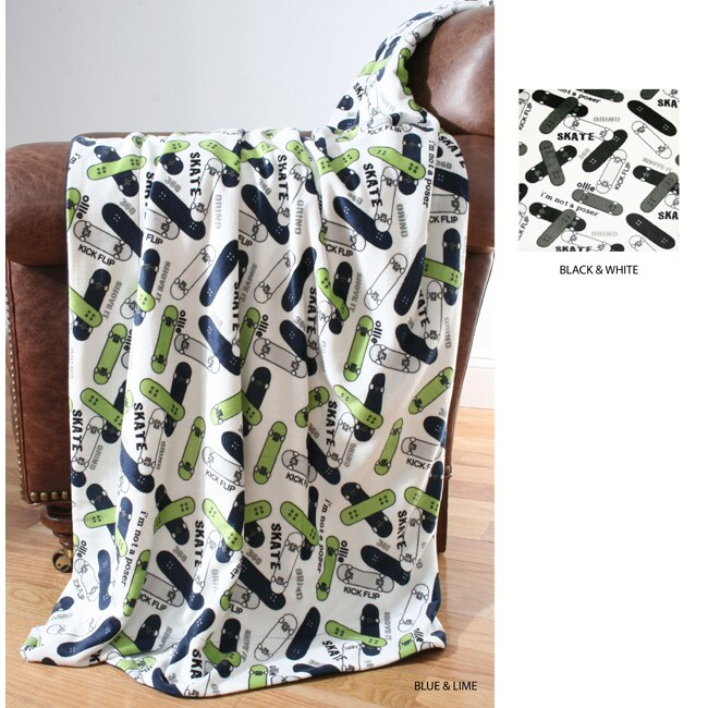Skateboard Print Microluxe Throw