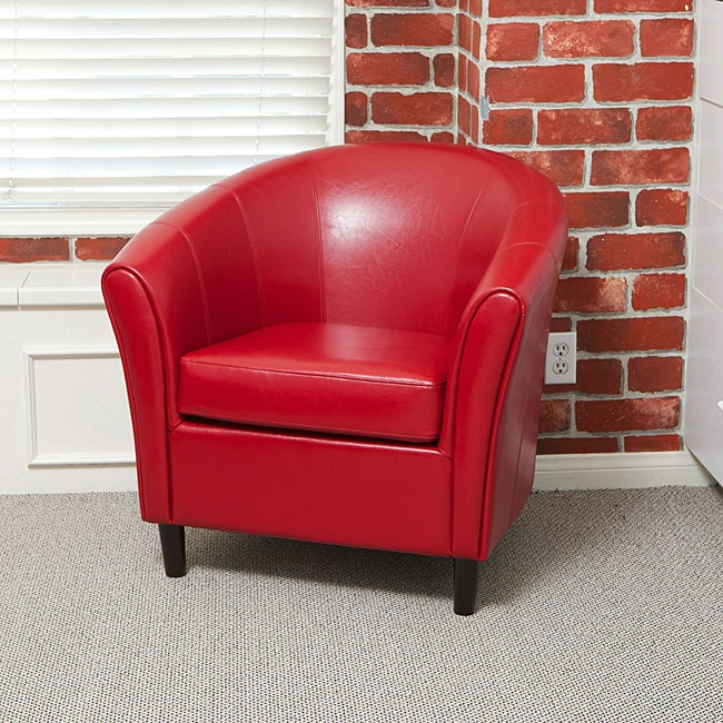 Napoli Red Bonded Leather Club Chair Free Shipping Today