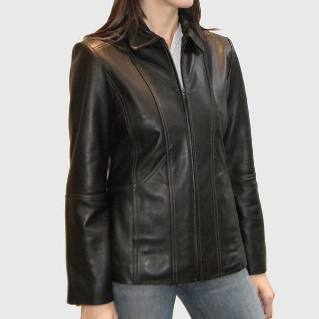 IZOD Women's New Zealand Lamb Leather Scuba Jacket