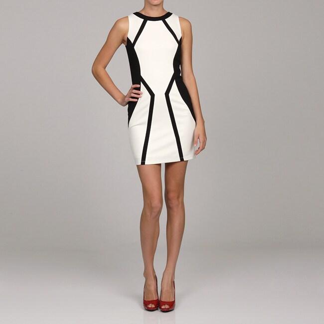 Jessica Simpson Women's Black/ White Contrast Sleeveless Dress