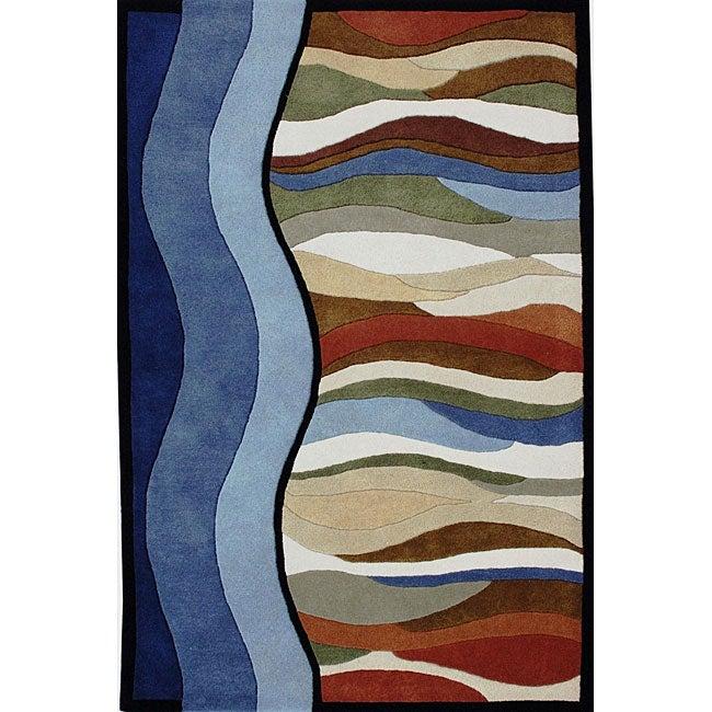 Alliyah Handmade Blue New Zealand Blend Wool Rug (4' x 6')