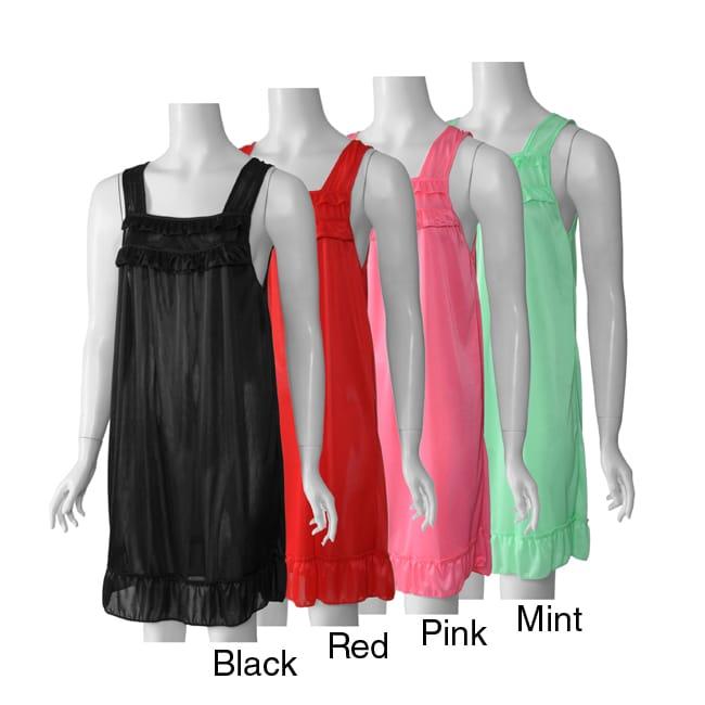 Happie Brand Women's Sleeveless Ruffled Tricot Nightgown
