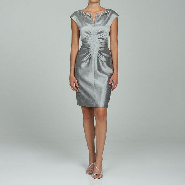 75e38b6c Shop Jessica Howard Women's Silver Shantung Sheath Dress - Free ...