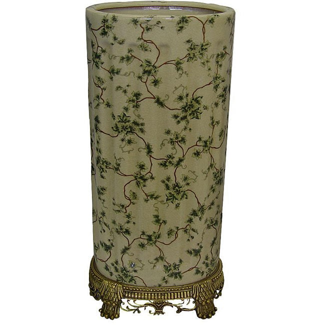 Porcelain Green Ivy Umbrella Stand