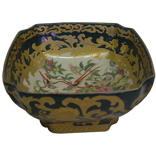 Porcelain Green Square Bowl