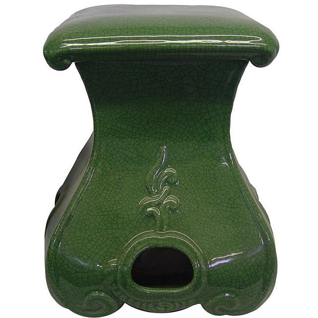 Celedon Crackle Square Porcelain Garden Stool