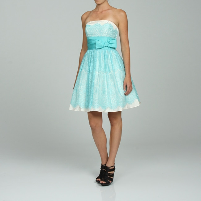 Betsey Johnson Women's Strapless Lace Over Lay Party Dress