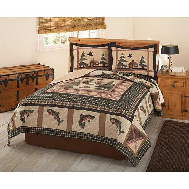 Gone fishing quilt free shipping today for Fishing bedding sets