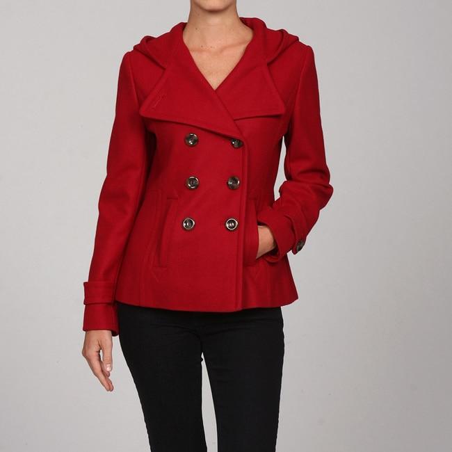 Nine West Women's Red Hooded Wool Coat