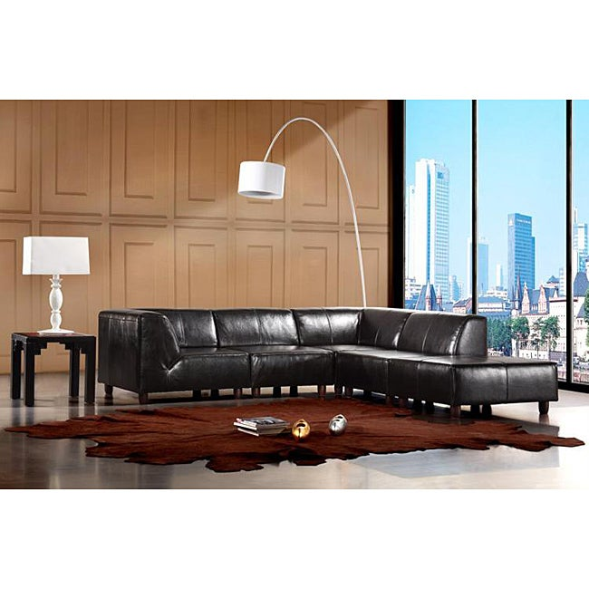 Eurodesign Brown Leather 5 Piece Sectional Sofa Set Free
