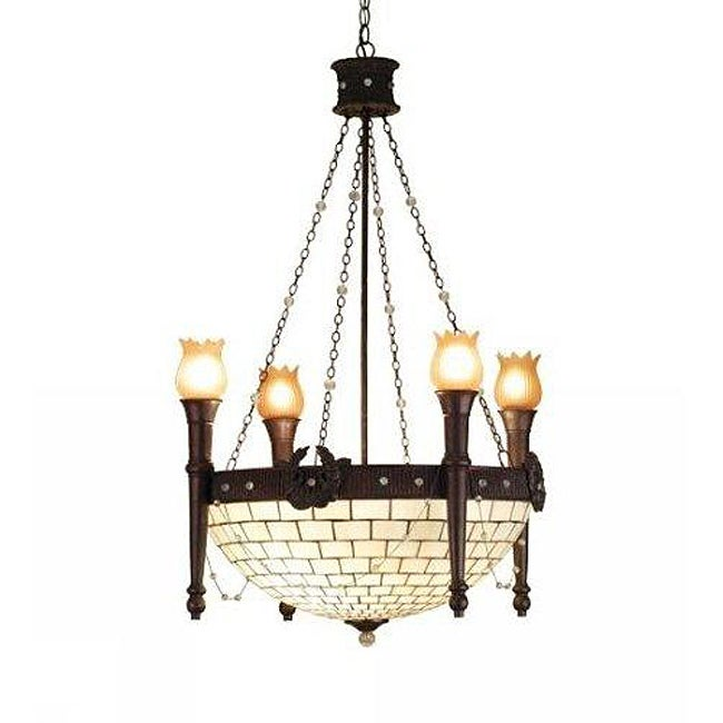8-light Mahogany Bronze 4-arm Torch Chandelier