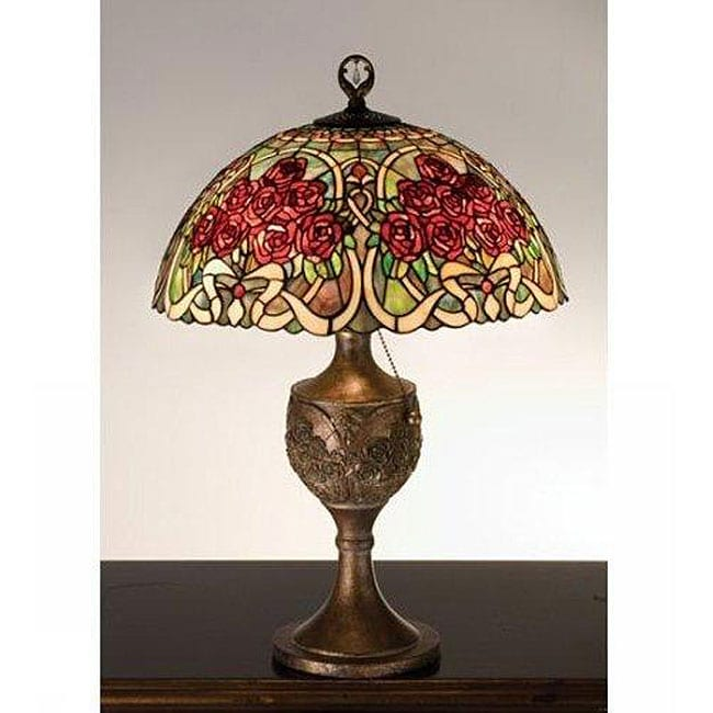 Rose Bouquet Bronze Accent Lamp