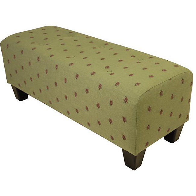 Lady Bug Green Tufted Bench