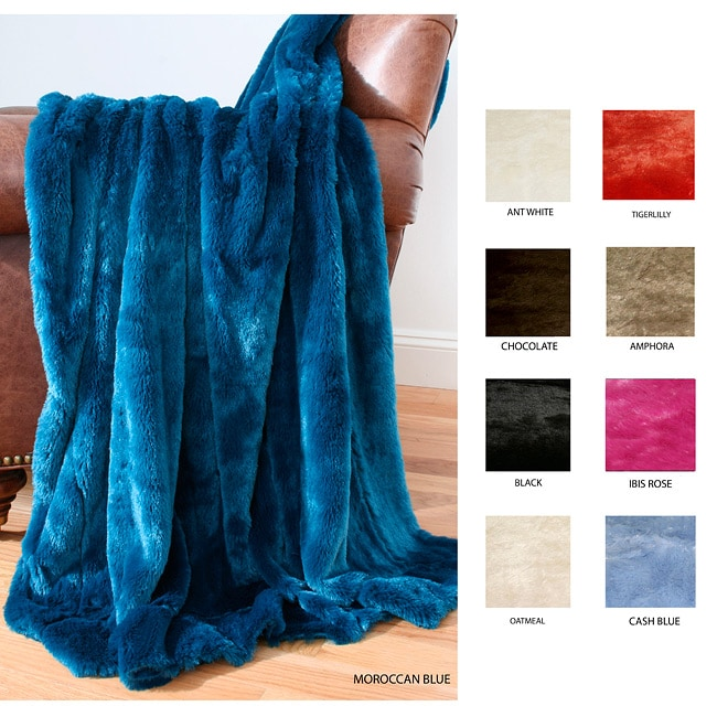 Solid Faux Fur Throw