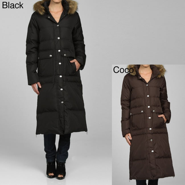 DKNY Women's Long Quilted Zip-front Down Coat - Free Shipping ...