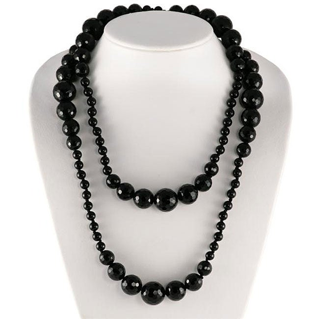 Maddy Emerson Black Agate Bead 40-inch Necklace - Thumbnail 0