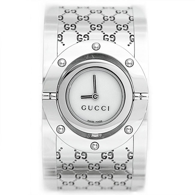 a522473e5f8 Shop Gucci Women s Twirl Series Wide Bangle Stainless Steel Watch - Free  Shipping Today - Overstock - 5132011